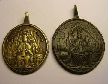 Medalla de gran formato de Nª Sª de Montserrat y San Benito, (R.M. SXVIII-O357) 8x1b0